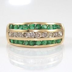 #jewelry 14K Yellow Gold Natural Diamond Emerald Band Ring Size 7 QR1 please retweet