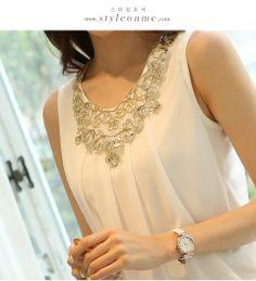 Nova Verão 2014 Primavera Mulheres Blusas sem mangas Sólidos Moda Chiffon Blusa Plus Size S-XL XF066 US $6.99