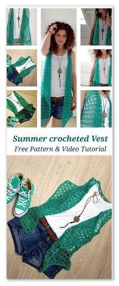 Summer crocheted vest: FREE pattern & Video tutorial Source by jessgalanty Pull Crochet, Gilet Crochet, Crochet Vest Pattern, Crochet Jacket, Crochet Cardigan, Crochet Scarves, Crochet Shawl, Crochet Clothes, Free Crochet