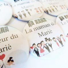 """Lot de huit gros badges mariage """" je suis....du marié ou de la mariée"""""""