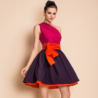 $29.49 TS Contrast Color One Shoulder Swing Dress - Free Shipping