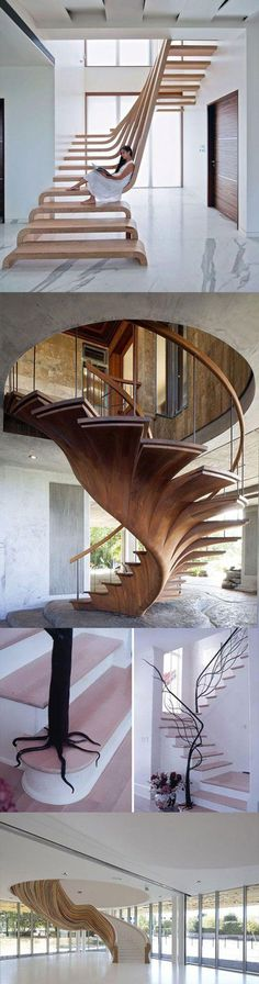 Extravagant staircase design as styling for modern living //Extravagantes Treppendesign als Stilmitt Architecture Design, Computer Architecture, Stairs Architecture, Escalier Design, Modern Stairs, Modern Wall, Modern Living, Modern Decor, Staircase Design