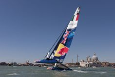 Red Bull in Venice, a 45 foot wing-sailed catamaran, same model currently used in the America's Cup World Series (racing competitions to determine which teams will qualify to race for the America's Cup in America's Cup will be raced in catamarans. America's Cup, Catamaran, Sailboats, Under The Sea, Seas, Red Bull, Venice, Sailing, Competition