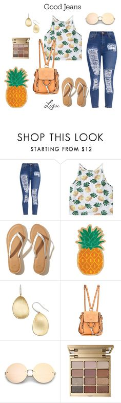 """Pineapples!"" by coolmommy44 ❤ liked on Polyvore featuring Hollister Co., Sunnylife, Marco Bicego, Chloé, Stila and distresseddenim"