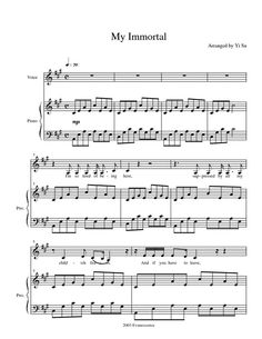 My Immortal by Evanscence sheet music