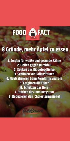 8 Gründe, mehr Äpfel zu essen #foodlover #foodfacts #foodfact #healthy #apple #apfel Granny Smith, Diabetes, Food Facts, Mindfulness, Sport, Health, Irritable Bowel Syndrome, Immune System, Healthy Teeth