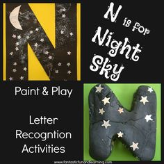 N is for Night Sky Paint & Playdough Letter Recognition Activities