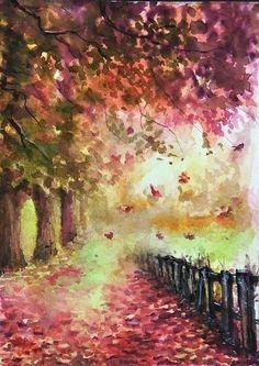ACEO Original Autumn landscape Fall painting Woodland road watercolour art card #Art #Miniature