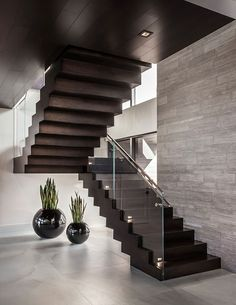 90 most popular modern house stairs design models 30 Home Stairs Design, Stair Railing Design, Modern House Design, Home Interior Design, Modern Staircase, House Stairs, Under Stairs, Elegant Homes, Stairways