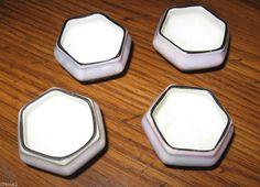 VINTAGE PORCELAIN 4 SALT CELLARS SIGNED LUSTER CZECHO-SLOWAKIA ART DECO