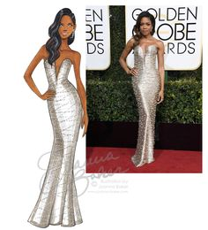 Golden Globes - Naomie Harris in Armani Prive - Fashion Illustration by Joanna Baker