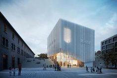 Architectural rendering for the new MHNF competition in Fribourg. Architecture Design, Architecture Today, Architecture Presentation Board, Facade Design, Amazing Architecture, Exterior Design, Landscape Stairs, 3d Max Vray, Interior Rendering
