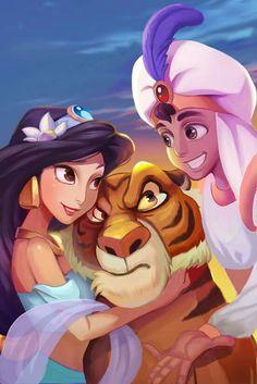 Aladdin, jasmine and rajah