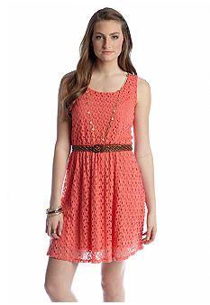 Red Camel® Bow Back Belted Crochet Dress