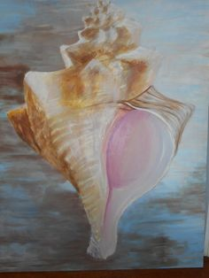 Large Shell painting Whelk oil painting original artwork 36 X 48 inches $250.00 Shell Painting, Mural Painting, Large Painting, Oil Paintings, Original Paintings For Sale, Original Artwork, Painted Shells, Hdr, Goodies