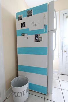 We Can Make Anything: fridge makeover... Temporary so Great for renting!