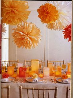 pom poms over tables or buffet line