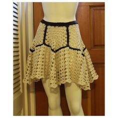 Women's Geometric Yoke Embellished Crochet Mini Skirt. no pattern, but once you made the pentagons it should be easy to figure it out from the picture. I wouldn't outline them in black though.