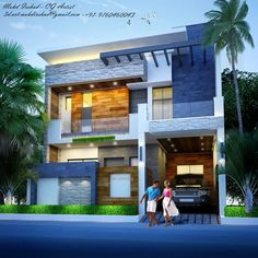 Building Elevation, House Elevation, Front Elevation, Duplex House Design, House Front Design, Modern Exterior House Designs, Modern House Design, Beautiful Modern Homes, Modern Bungalow House