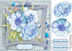 Beautiful  Blue Roses on a Bevelled Frame  on Craftsuprint designed by Ceredwyn…
