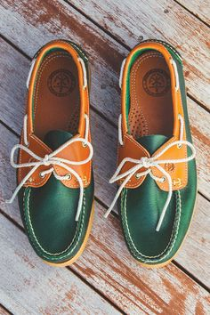 Green and gold boat shoes by Kiel James Patrick // #SicEm!