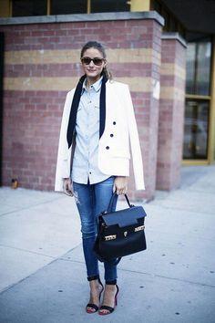 jeans, white blazer, blue shirt.