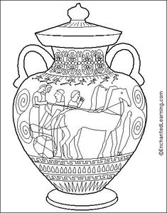 Ancient Greece coloring pages, coloring pages of Ancient Greece , printable Ancient Greece coloring sheets Ancient Greek Art, Egyptian Art, Ancient Greece, Greek History, Ancient History, Art History, Greece Art, Greek Pottery, Vase Design