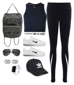 """Untitled #4084"" by magsmccray on Polyvore featuring Tommy Hilfiger, NIKE, Chanel, adidas, Yves Saint Laurent, Gucci and Apple"