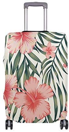 Baggage Covers Tropical Palm Leaves Red Yellow Floral Washable Protective Case