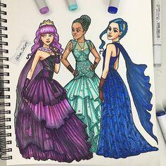 (Which one do you choose?(Which one do you choose? Descendants Characters, Descendants Pictures, Disney Channel Descendants, Disney Descendants 3, Descendants Costumes, Kawaii Disney, Disney Art, Bff Drawings, Princess Drawings