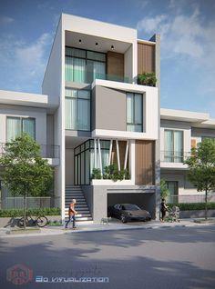 Modern Home Design Facade House Architecture 3 Storey House Design, Duplex House Design, House Front Design, Small House Design, Modern House Design, Home Design, Modern House Facades, Modern Architecture House, Architecture Design