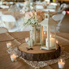 10 pc 12 inch wood slices wedding centerpieces wood centerpieces 30 amazing lantern wedding centerpiece ideas see more junglespirit Images