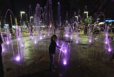 Ahmadabad, India  Illuminated water fountain outside the Bhadra Kali Hindu temple