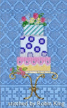 Needlepoint Study Hall: 3D Cake with DMC Embellishment - part two