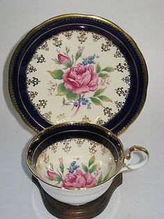 AYNSLEY Tea Cup & Saucer Cobalt Blue Pink Roses Gilt English Bone China