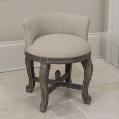 Shop for Perla European Cream Upholstery and Aged-Finish Wood Vanity Chair. Get free delivery On EVERYTHING* Overstock - Your Online Furniture Store! Bathroom Vanity Chair, Vanity Stool, Wood Vanity, Vanity Chairs, Desk Stool, Antique Vanity, Bathroom Furniture, Teal Dining Chairs, Farmhouse Vanity
