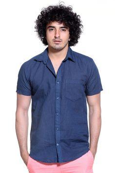 Navy Blue Linen Short-Sleeve Shirt