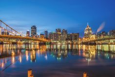 Reflections of the Pittsburgh skyline in the Allegheny River in the morning. Photo by Dave DiCello
