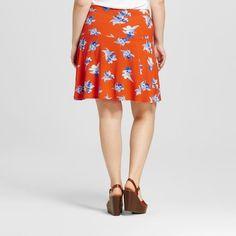 Women's Plus Size Knit Skater Skirt - Ava & Viv Orange Floral 4X