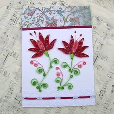 Quilling Card Paper Quilled  VINTAGE Crimson by EnchantedQuilling, $6.95