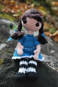 Amigurumi doll Annie with bendable arms and legs.