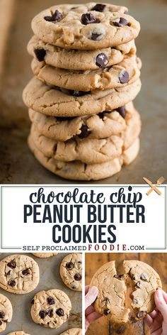 Chocolate Chip Peanut Butter Cookies are the best two-bite baked dessert recipe. Each bite of this chocolate filled soft chewy peanut butter cookie will make you feel like a kid! Homemade Peanut Butter Cookies, Best Peanut Butter, Peanut Butter Recipes, Best Cookie Recipes, Popular Recipes, Homemade Desserts, Homemade Recipe, Dessert Recipes, Bar Recipes