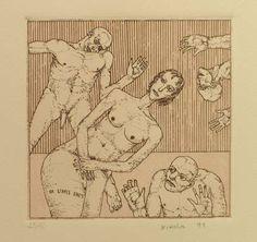 """""""Eros II"""", 1991. Aguafuerte y aguatinta sobre Zinc de 12x12,5 cm., Papel Michel de 240 gr. de medidas 38x27,5 cm. Ej.: 40"""