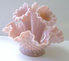 Fenton EPERGNE ROSE PASTEL Pink Hobnail Milk by TREASUREandSUCH