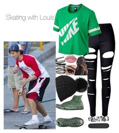 """Skating with Louis"" by loubear223 ❤ liked on Polyvore featuring WithChic, NIKE, Converse, Black, Fallon, Lime Crime and Blind"