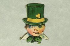 Vintage Die-Cut & Embossed Irish Lad - Package of dapper little gentleman wears his glorious green top hat bedecked with a golden shamrock and hatband. Oh, my, and should a lad so young be smoking a pipe? St Patricks Day Cards, Chenille Crafts, Gentlemen Wear, Erin Go Bragh, Little Gentleman, St Paddys Day, Luck Of The Irish, Leprechaun, Little Boys
