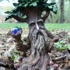 New 2 tree man statues enchanted forest crystal ball Garden Statues, Garden Sculpture, Fairy Statues, Magic Garden, Fairies Garden, Fairy Gardens, Tree Faces, Tree Carving, Unique Trees