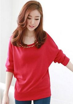 Light-red Long Sleeves Modern Style Asian Trendy Women Blouse 1