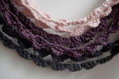 4 Four Crochet necklaces rainbow crochet bohemian by sewella