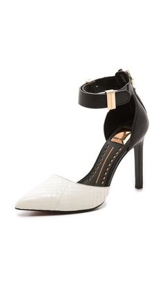 Dolce Vita Kana Snakeskin Pumps - black leather & white snakeskin